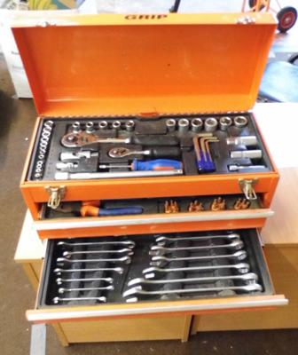 Grip metal toolbox with selection of tools, sockets, spanners etc...