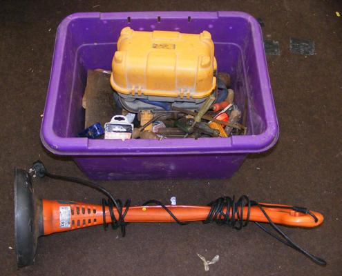 Box of tools and strimmer W/O