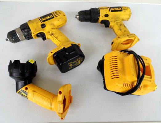 Dewalt drill x 2, W/O with charger & torch (needs bulb)