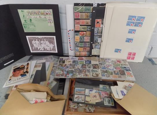 Box of loose stamp on cards, album pages main strength Australia