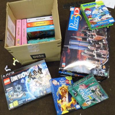 Box lot of games & 3D puzzle + Lego game