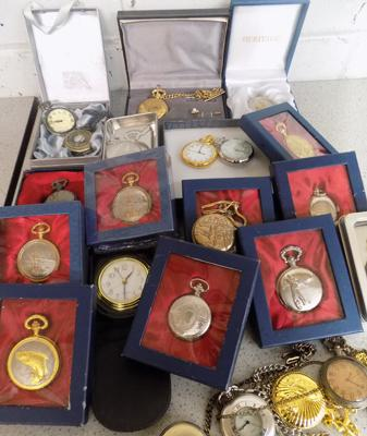 Large collection of  pocket watches, incl. clocks in cases