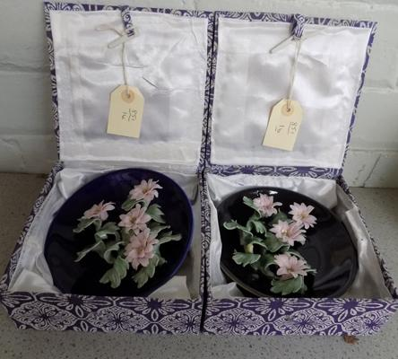 Pair of Japanese ceramic boxed plates