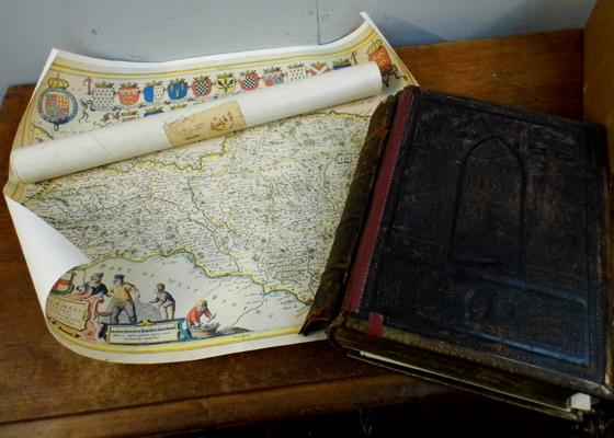 Vintage family bible and North Riding map print