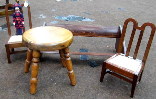 Selection of wooden items - small stool, bookstand & miniature chairs