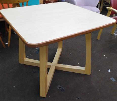 Square dining table, natural frame + top - 37 x 37 inches