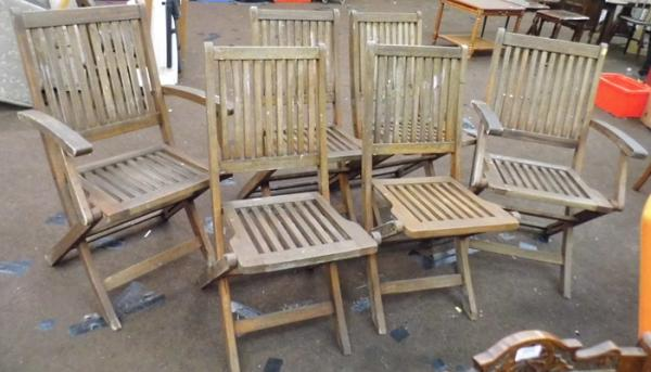 6 wooden garden chairs - 2 with arms
