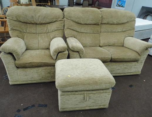 G-plan two seater settee and armchair and pouffe