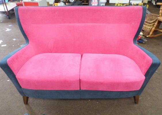Two seater high back sofa,  soft cover pink/dark grey fabric - walnut frame