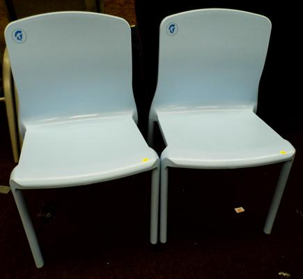 2 x moulded blue plastic armless dining chairs