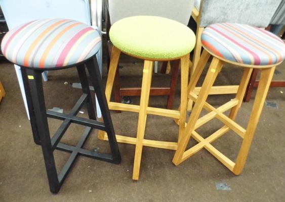 3 x bar stools, 2 in soft cover stripe seats & 1 in green - oak frame
