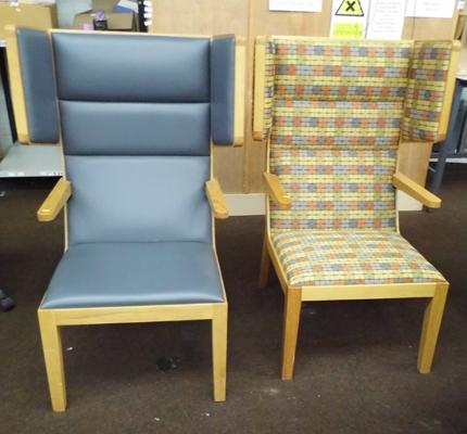 Two high back wing chairs - standard with legs