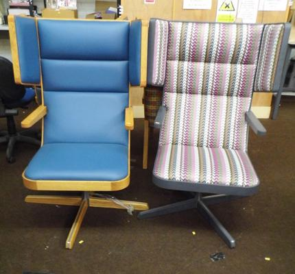 Two high back wing chairs - swivel base