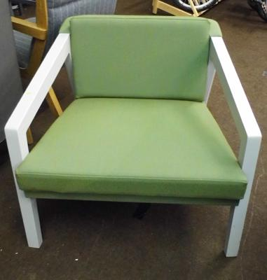 Lounge chair, soft green cover & grey frame
