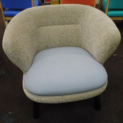 Lounge chair, soft beige cover, light blue seat