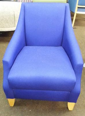 Lounge chair, soft dark blue cover, natural frame