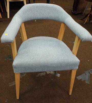 Dining chair, open sides, soft blue cover & natural frame