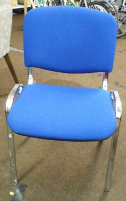 Dining chair, soft blue cover, chrome legs