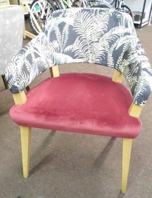 Dining chair, open side, soft cover, wine seat with floral back & natural frame