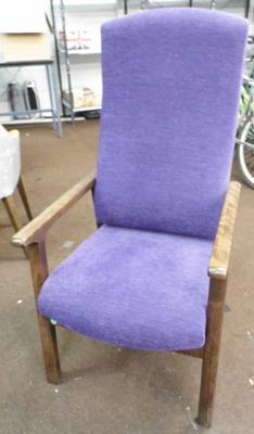 High back chair, soft purple cover - walnut frame