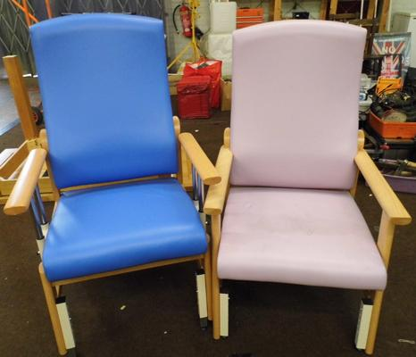 Two high back chairs with adjustable height, wheels, vinyl, lilac & blue