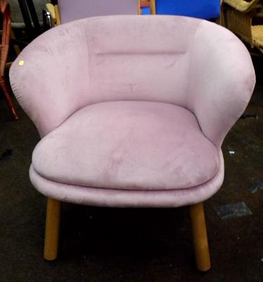 Club armchair, soft lilac cover & natural frame