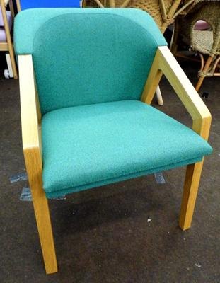Dining armchair with open arms, soft cover in green fleck