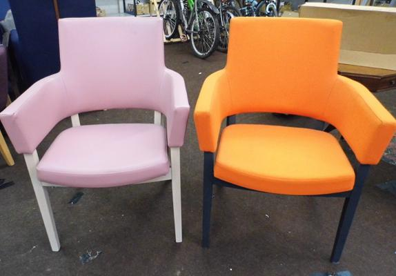 2 x dining chairs, armed but open in rose & orange vinyl