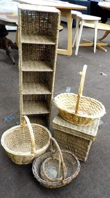 Selection of wicker baskets & storage boxes