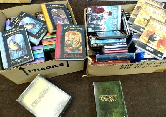 Box of books, Lemony Snicketts, Lord of the Rings + DVDs