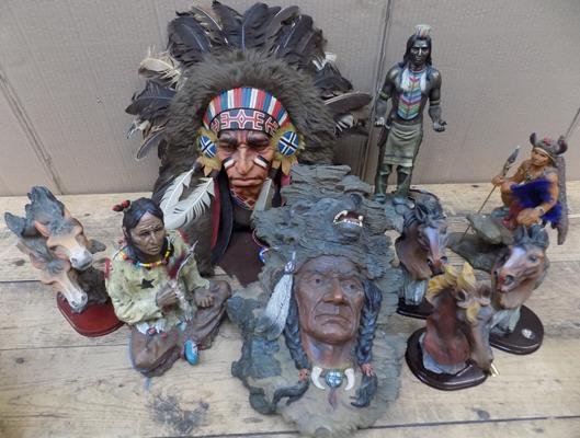 Collection of red indian ornaments/wall plaques