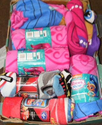 Box of new childrens fleeces, blankets - Shimmer & Shine & Cars