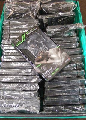Box of new Ammoclip charging stations for XBox 360