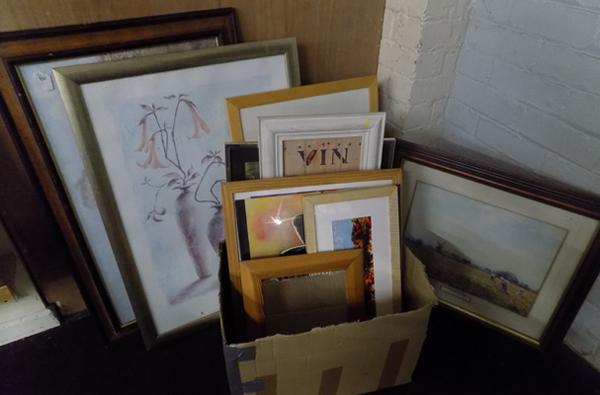Large collection of framed paintings + prints & mirrors