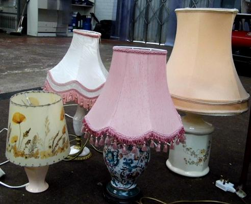 Selection of four table lamps & shades