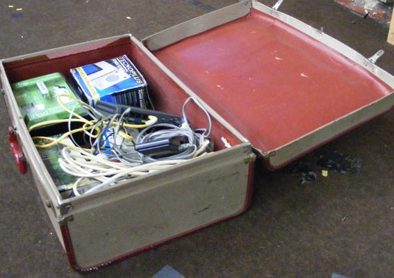 Suitcase of chargers etc.