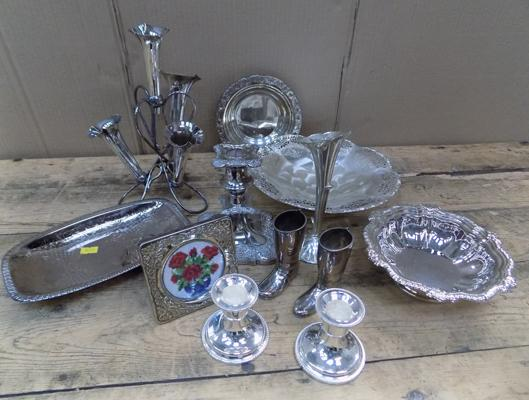 Assortment of silver plated items inc epergne