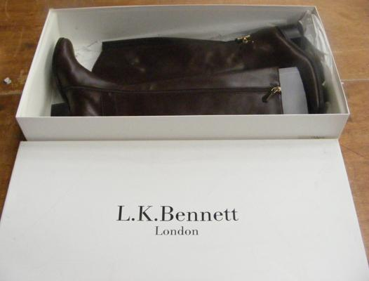 LK Bennet new/boxed ladies boots, Georgina chestnut leather, size 38