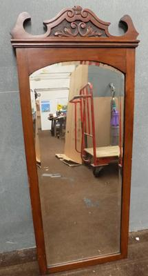Large wooden mirror approx 41 3/4 x 17.5 inches