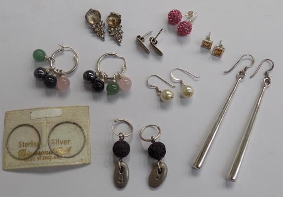 Selection of silver earrings