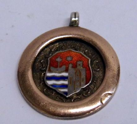 1930s silver gold & enamel fob for pocket watch chain