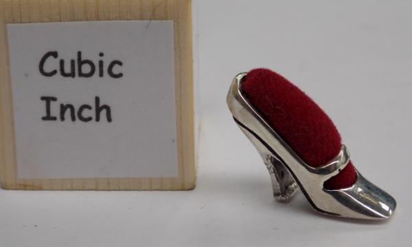 Antique style Cinderella shoe - solid silver red velvet pin cushion