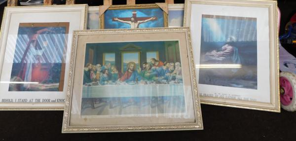 Selection of religious framed pictures