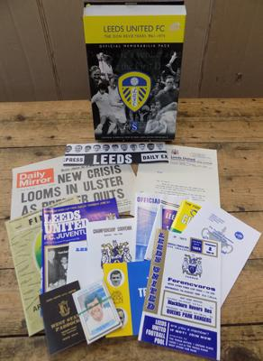 Leeds United - The Don Rovie years official memorabilia pack incl. Cup Final programmes, player cards, club letters, hat, newspaper front pages etc.