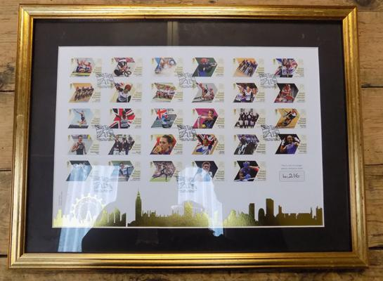 Framed complete set of all 2012 Olympic Gold GB stamps - official ltd. edition (1216 of 4500)