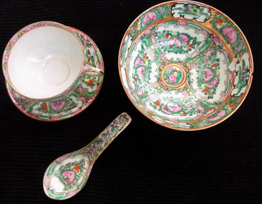 Antique Chinese famille rose hand painted cup, saucer, dish & spoon-small chip to rim of bowl