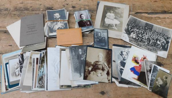 Box of postcards + vintage photos