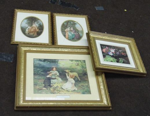 Four framed prints - damage to glass on one