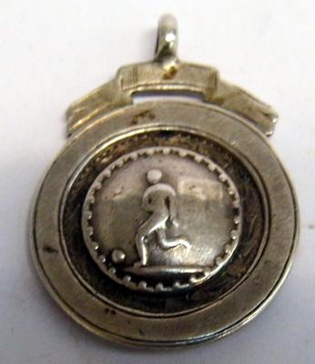 Hallmarked silver football pocket watch, chain fob