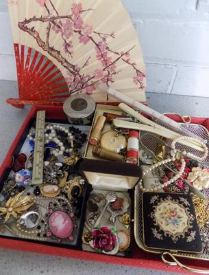 Collection of vintage brooches, hallmarked silver, badges, jewellery, clock, 1950s lipsticks etc...